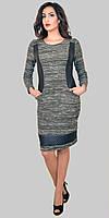 Молодежное комбинированное платье из двух тканей ; шерсть-букле и кож-зам р.48-58