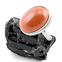 Авантюрин золотой песок, серебро 925, кольцо,159КА