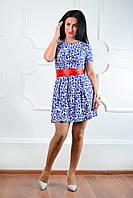 Милое клешное платье с ярким поясом