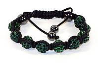 Браслет Shamballa (Сваровски)  темно-зеленый цвет