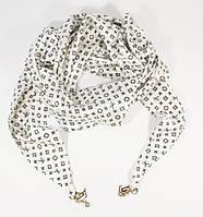 Платок-косынка треугольный атласный белый Louis Vuitton 7771