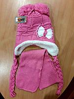 Детская зимняя шапка для девочки розовая с шарфом