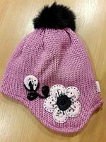 Детская зимняя шапочка с помпоном для девочки