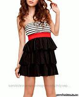 Комбинированное платье с многослойной юбкой