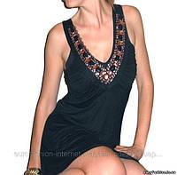 Туника нарядная черная с вышивкой фурнитурой