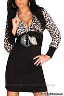 Нарядное платье с откровенным декольте, расцветка тигровая. Турция