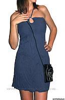 Платье со шнуровкой на груди и спине, синее