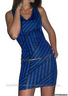 Платье синее, с открытой спинкой