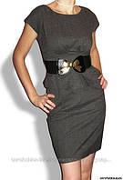 Платье в деловом стиле с поясом-резинкой