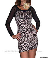 Платье с прозрачными рукавами-сеточкой