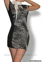 Платье мини трикотажное, с леопардовым принтом, пр-во Украина