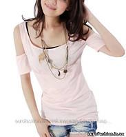 Удлиненная майка- футболка с оригинальным рукавом, цвет нежно розовый
