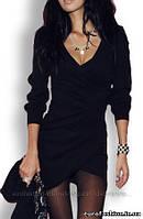 Платье черное, с V-образным вырезом