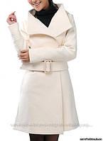 Пальто белое на две пуговицы, с поясом, Китай