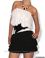 Коктельное платье-оборка черно-белое