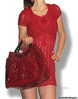 Легкое платье, вязанное крючком, красное, пр-во Украина