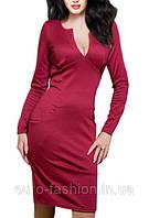 Бордовое платье в деловом стиле , с длинным рукавом