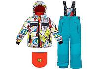 Детский зимний костюм для мальчиков 2-10 лет (куртка, полукомбинезон, манишка) ТМ Deux par Deux L 814-442