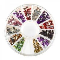 Стразы для ногтей в контейнере карусель, разной формы и цвета