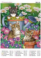 """""""Котята в цветах"""" Схема для частичной вышивки бисером"""