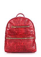 Кожаный рюкзак под крокодила красный