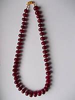 Ожерелье натуральные рубины, 346с, 47 штук. Размер 10-13 мм х 8 мм -48 см-ИНДИЯ-ЭКСКЛЮЗИВ  (