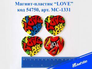 """Магнит на холодильник пластик  круглый   """"LOVE""""mix 4"""