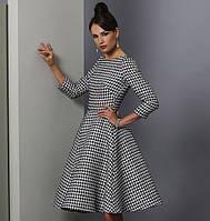 Платье в ретро стиле с принтом гусинная лапка