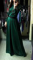Платье в пол зеленое с черным поясом