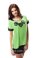 Блуза летняя зеленого цвета с коротким рукавом. Модель 17006 Enny.