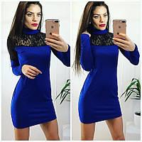Платье короткое с гипюровой вставкой НОВИНКА !!!