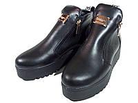 Ботинки женские на меху черные на молнии (23)