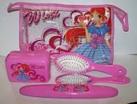 Набор аксессуаров для девочек феи Winx, Винкс: косметичка, расческа, футляр  зубной щётки, зеркало, мыльница