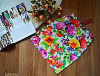 Стильная женская юбка мини принт Цветы на белом