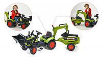 Трактор Педальный с Прицепом и двумя Ковшами Claas Arion Falk зеленый