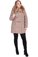 Куртка женская зимняя  бежевая на синтепоне 48,50,52,56 размер