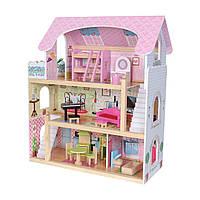 Деревянный дом для кукол с мебелью Байковый