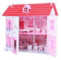 Деревянный дом для кукол с мебелью Ягодный