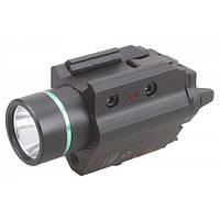 Фонарь для пистолета с зеленым лазерным целеуказателем Vectop Optics Doublecross Tactical LED Pistol Flashlight Green Laser Combo