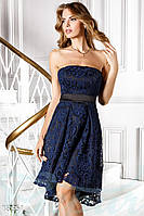 Асимметричное кружевное платье. Цвет сине-черный.
