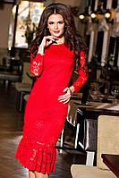 Модное красное гипюровое платье. Арт-9192/57