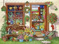 Ткань с рисунком для вышивания бисером Цветочный магазин РКП-595