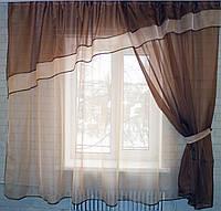 Кухонный комплект, тюль, шторка и ламбрекен! №18 Цвет коричневый с персиковым