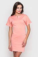 Мини платье с короткими рукавами персикового цвета