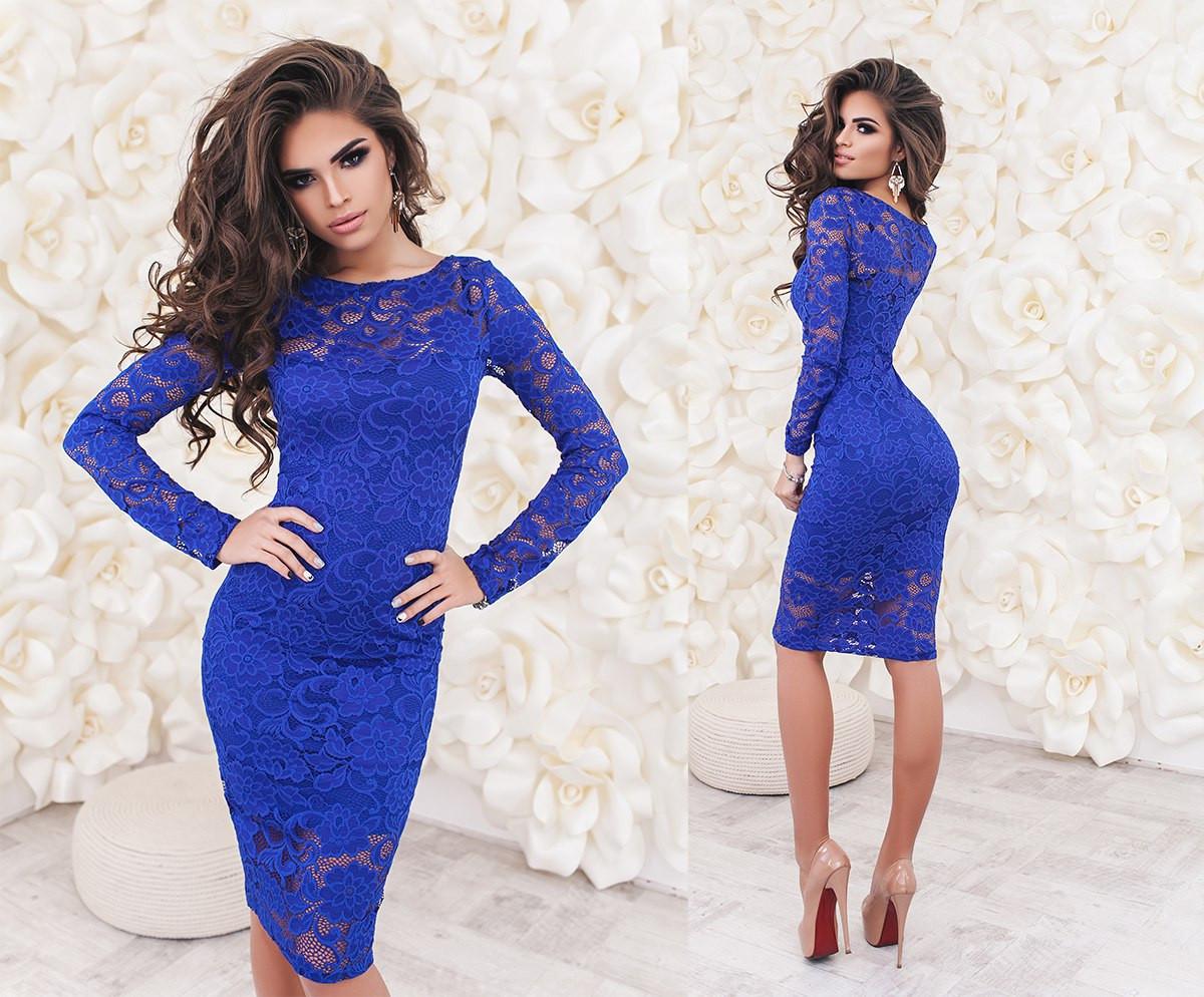 Платье гипюровое синее
