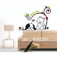 """Наклейка на стену """"Собачки отдыхают"""", украшения стены наклейки, виниловые наклейки (лист30*60см)"""