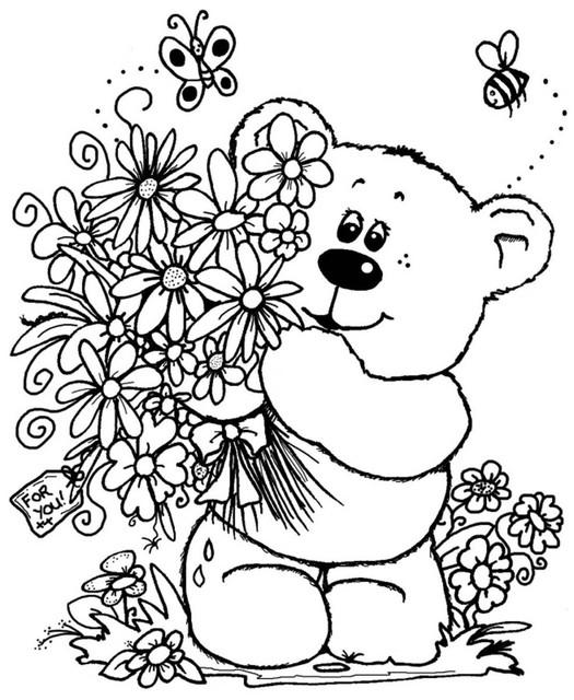 Раскраски дети с цветами