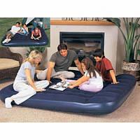 BW 67227 Двуспальный надувной матрас с подголовником и встр. ножным насосом (203х185х22см)