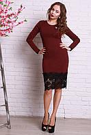 Приталенное платье с гипюровым низом