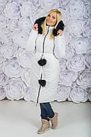 Пальто зимнее с капюшоном белое